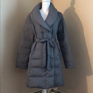 H by Halston Grey Down / Feather Midi Coat /Size L